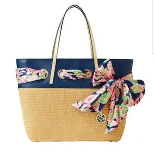 New Lilly Pulitzer Resort Straw Scarf Summer Tote